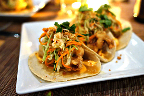 Beer Battered Fish Tacos with Cilantro Ginger Slaw, Thai Chili Aioli, Fresh Corn Tortillas