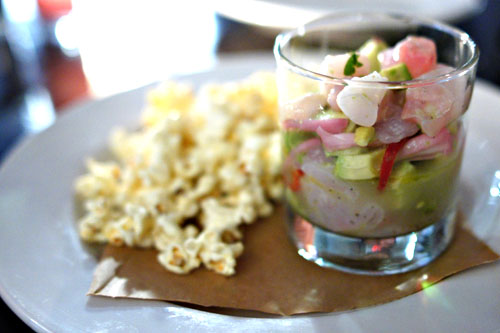 fluke ceviche, pisco, lime, pickled jalapeno, avocado and cilantro