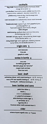 The Hungry Cat Beverage Menu