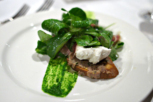 Duck salad with mache lettuce, duck prosciutto, and fresh ricotta cheese