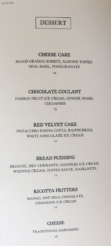 Bastide Dessert Menu