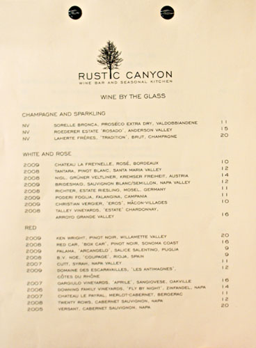 Rustic Canyon Wine List