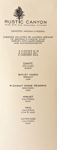 Rustic Canyon Cheese List