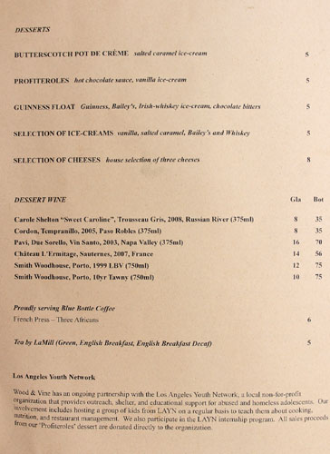 Wood & Vine Dessert Menu