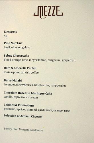 Mezze Dessert Menu