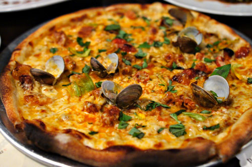 Clam and Chorizo Pizza, Zucchini & Blossoms