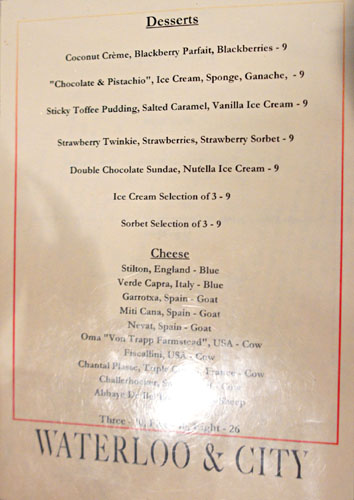 Waterloo & City Dessert Menu
