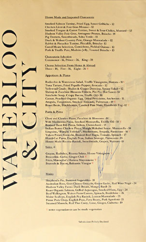 Waterloo & City Menu