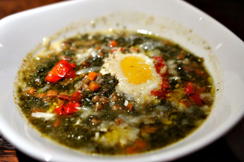 Wild fennel minestra, mustard greens, farro, Calabrian chilies, egg