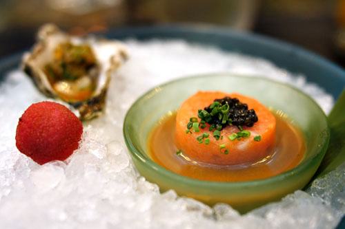 Salmon Tartar w/ Caviar and Kumamoto Oyster with Nobu Sauce