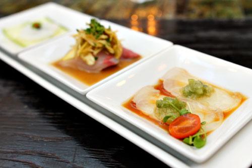Sashimi Trio: Fresh Tako Sashimi Tiradito Style, Kanpachi Sashimi Agua de Chile, Hirame Sashimi w/ Wasabi Salsa and Ponzu