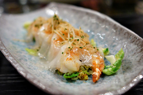 White Shrimp, Lardo Veil, Tosazu Brussel Sprouts