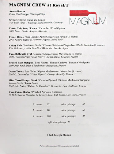 Magnum Crews at Royal/T Menu