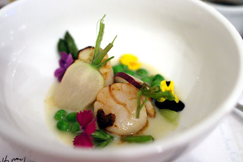 Sea Scallop/ English Peas/ Asparagus/ Radish/ Spring Onion Purée/ Yuzukosho.