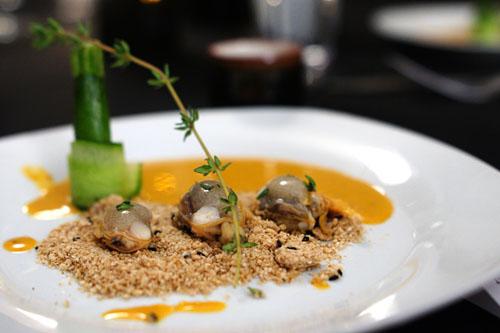clam, uni, dashi, sesame, zucchini, cucumber