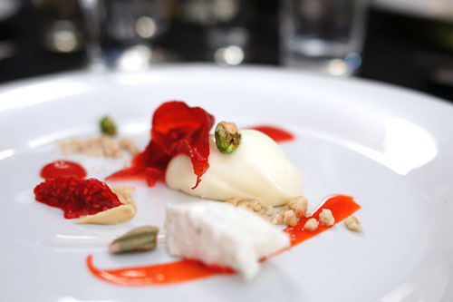rose, goat cheese, strawberry, raspberry, elderflower, pistachio, malt