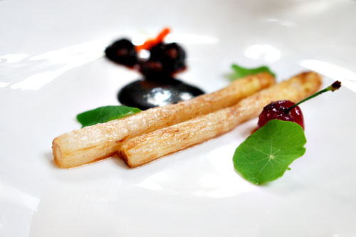 cherries, dutch white asparagus, black truffle & nasturtium