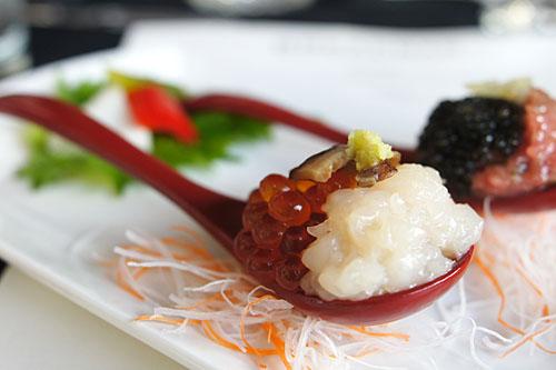 Hokkaido Scallop and Marinated Salmon Roe, Wasabi, Shiitake Mushroom