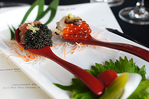 Tartar Duo - Hokkaido Scallop and Marinated Salmon Roe, Wasabi, Shiitake Mushroom / Toro, Osetra Caviar, Takuan, Scallion