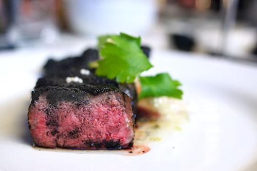 Charcoal Akage Beef, Maitake Tempura, Tsukemono