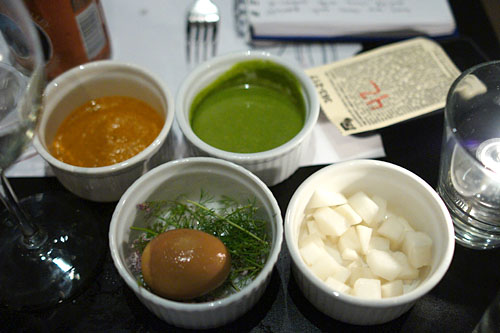 kimchi, century egg, salsa roja, salsa verde
