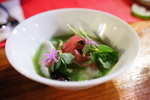 Ceviche, Cucumber Water, Purslane