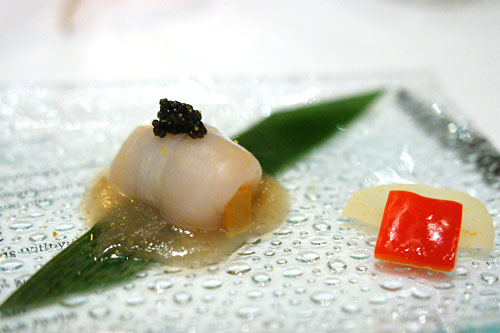 hokkaido scallop and monkfish liver