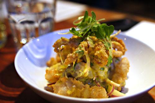 Ceviche crocante, halibut, leche de tigre, crispy calamari