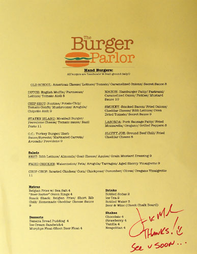 Burger Parlor Menu