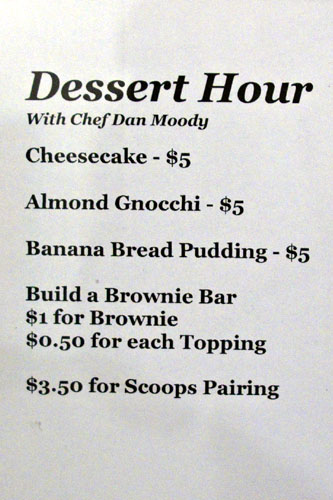 Dessert Hour with Chef Dan Moody at Scoops Westside Menu