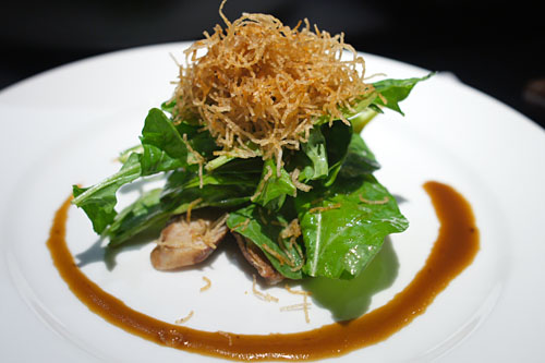 Wild Arugula Salad w/ Smoked Chashu Berkshire Pork Cheek, Balsamic Garlic Vinaigrette