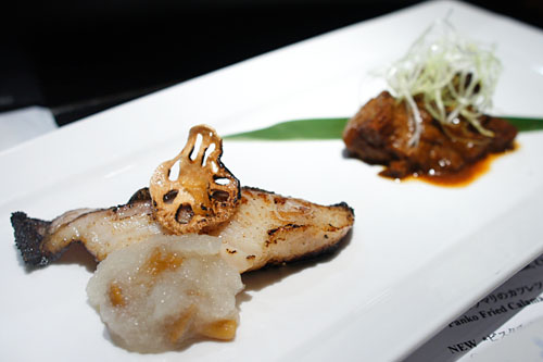 Oven Grilled Cod Marinated in Saikyo Miso + Simmered Beef Tongue w/ Miso Demi-glace sauce