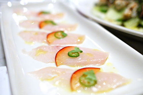 Hamachi Crudo with Santa Rosa Plum, Serrano Chili, Cilantro & Lemon