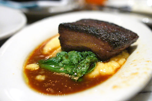 Crispy Niman Ranch Pork Belly with Soft Polenta, Bitter Greens & Apple Cider