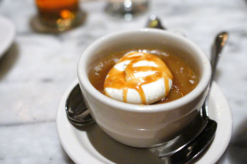 Butterscotch Pot de Crème with Salted Caramel w/ Crème Fraiche