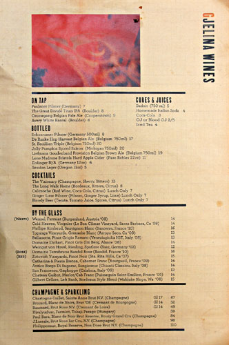 Gjelina Beverage Menu