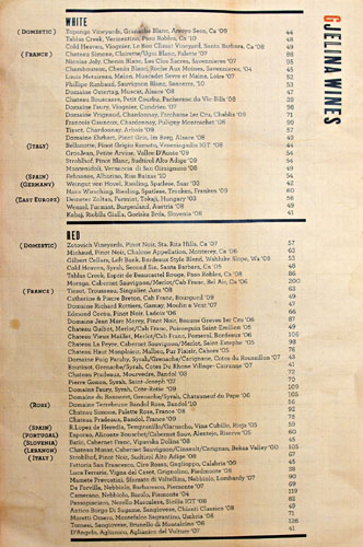 Gjelina Wine List