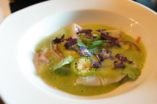 Dorade Ceviche, Cucumber Water, Cornichon, Borrage Flower