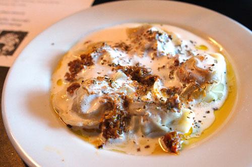 Foie Gras Ravioli, Crispy Kimchi, Sake-Black Truffle Cream