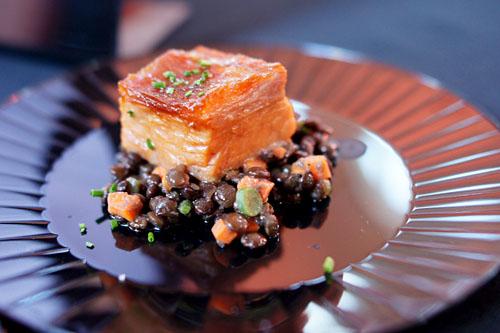 Braised Kurabota Pork Belly, Beluga Lentils, 'Soupe de Poisson Provencal'