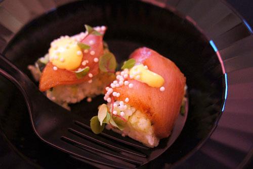 Hamachi Mole Pressed Sushi, Aji Amarillo Aioli