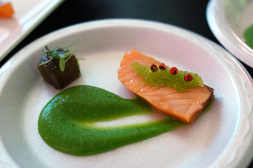 Côté Seared House Smoked Schottische Salmon with Broccoli Yuzu Kosho Coulis and Mozuku Aspic