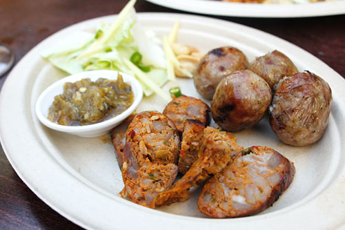 sai krok isaan / isaan sour sausage & sai uah / chiengrai herb sausage