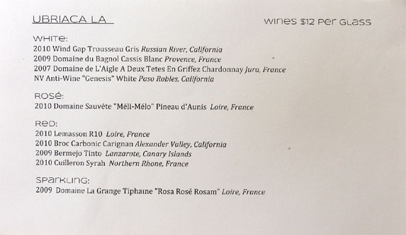 Ubriaca LA Wine List