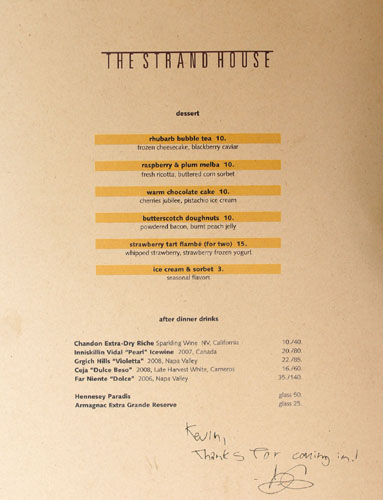 The Strand House Dessert Menu