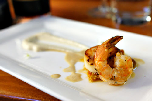 Pan Seared Diver Scallop and Grilled Prawn with Brown Butter Cauliflower Puree, Vanilla Beurre Blanc and Tomato