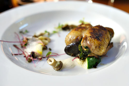 'Faux Gras' Stuffed Quail with Parisian Gnocchi, Summer Squash and Mushrooms