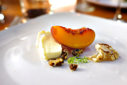 Cheese: Brie, Compressed Apricots, Honey Almond Nougatine