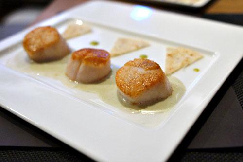 Coquilles St. Jacques 'Nacho', servies avec 'Gordita', Sauce Créme de Roquefort