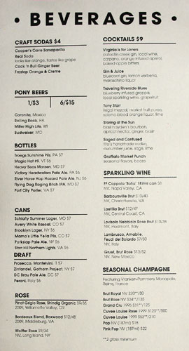 Graffiato Beverage Menu